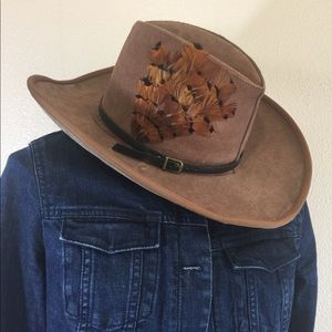 Vintage suede Stetson hat with feather